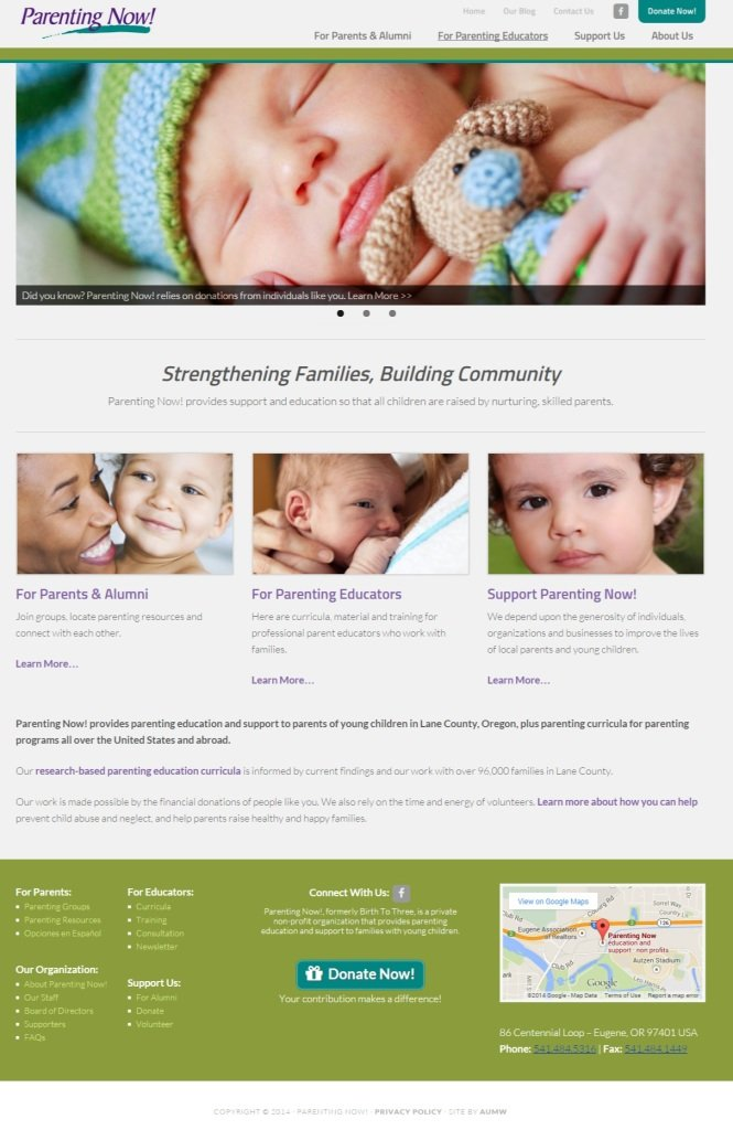 New website home page
